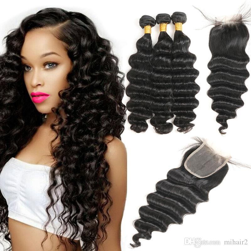 Peruvian Loose Deep Wave Human Hair 3 Bundles With Closure Non Remy
