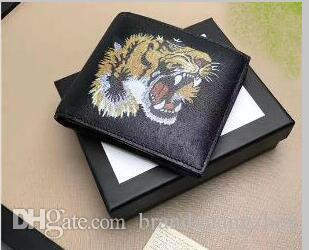 Top quality Fashion designer Gentlemen prefer short wallets clutch leather men women Business card holders wallet with box 15
