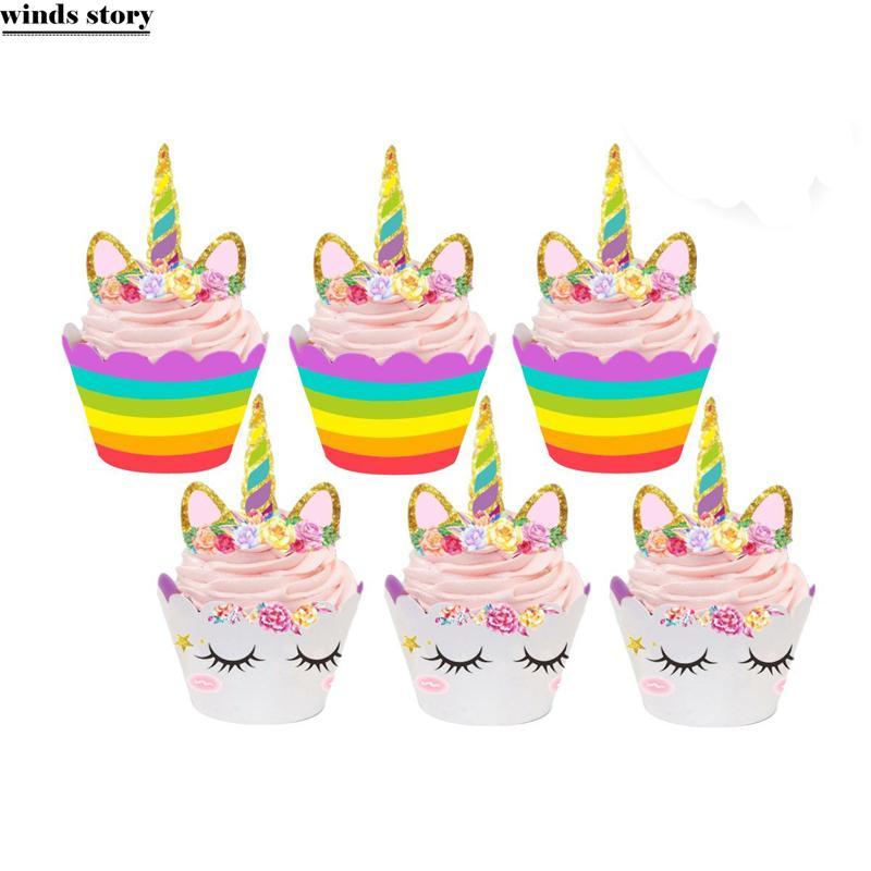 2018 Unicorn Party Cupcake Topper Wrapper Baby Shower Boy Girl Happy Birthday Cake Decoration Cartoon Theme From Hogane 2364