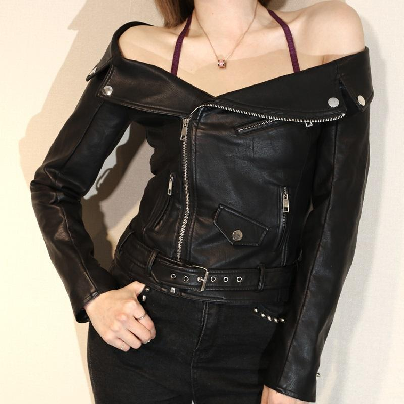 20250f8f 2019 Short Style Sexy Off Shoulder Women Leather Jacket Black Motorcycle  Biker Leather Jacket Coat For Girls From Amazingweilai, $80.41 | DHgate.Com
