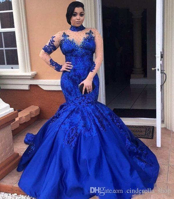 2018 Royal Blue Plus Size Mermaid Prom Dress High Neck Long Sleeve Illusion  Bodice Appliques Sweep Train Africa Arabic Evening Party Gowns