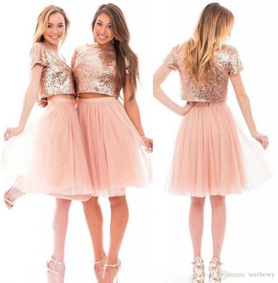 7849a3b7eb9 2018 Sparkly Blush Pink Rose Gold Sequins Bridesmaid Dresses Beach Cheap  Short Sleeve Plus Size Junior Two Pieces Prom Party Dresses HY288 Lemon  Bridesmaid ...
