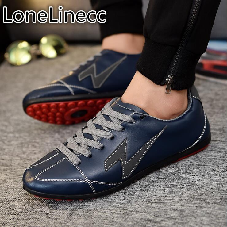 94cbd62cb38 2018 Man Shoes Walking Ventilation Casual Male Men Sapato Masculino Lace-Up  Leather Slip Driving Moccasin Loafers Flat Shoes Men Online with   42.52 Pair on ...