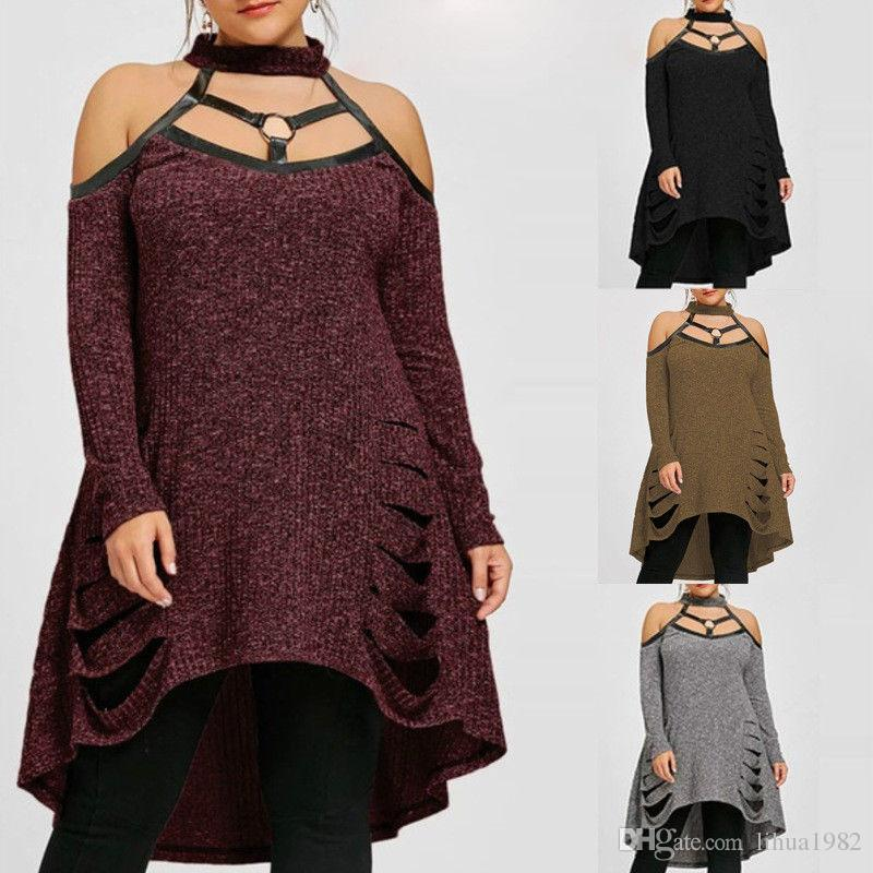 b86c18bdf819f Plus Size Womens Off Shoulder Ripped Knitted Sweater Ladies Dress Jumper  Tops Black Party Dress Designer Cocktail Dresses From Lihua1982