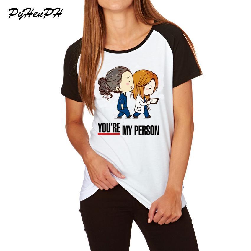 Cartoon Greys Anatomy T Shirt Women 2018 Summer Loose Cotton T Shirt