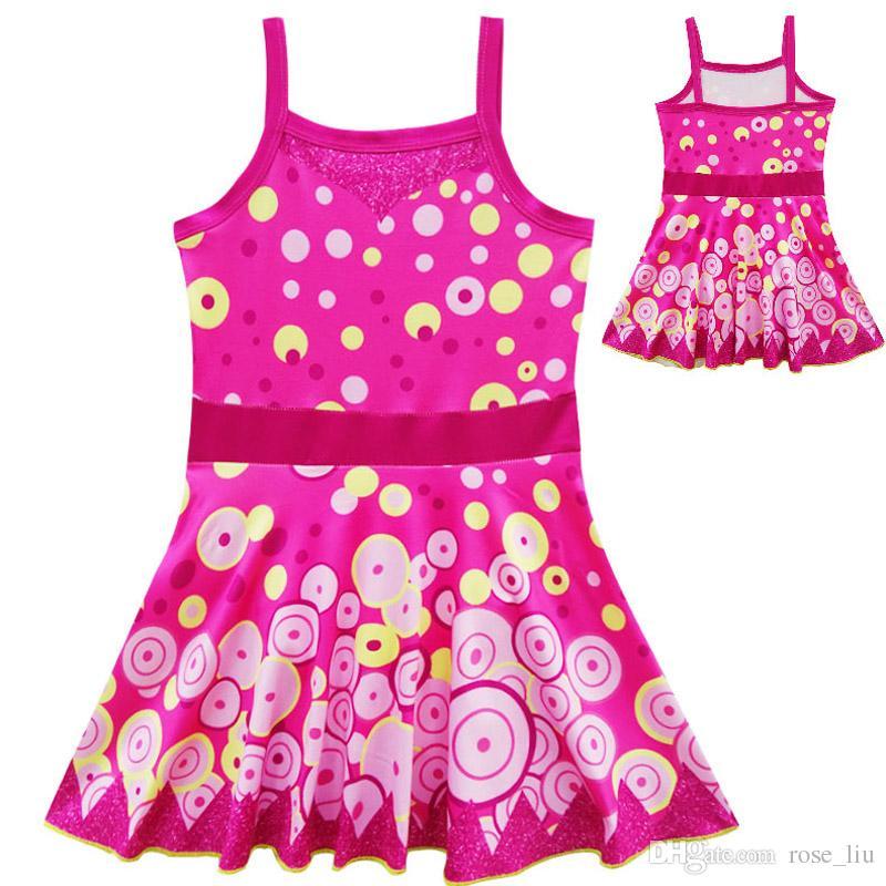 Bébé fille mia et moi habiller maillot de bain 2018 Nouveaux enfants Mode dessin animé princesse modèle sling sans manches robes 3-9ans 7937 B