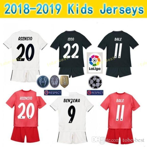 promo code 3752f 1baa4 Children Real Madrid Youth BENZEMA Jersey Soccer 18 19 Champions White TONI  KROOS MARCELO VAZQUEZ COURTOIS Football Shirt Kits Uniform Kids