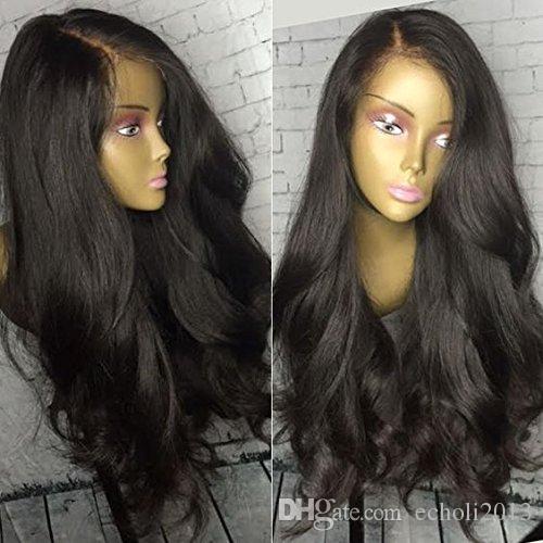 250% yoğunluk dalgalı düz 360 dantel ön peruk pre-plucked siyah kadınlar için doğal saç çizgisi tutkalsız dantel fornt peruk