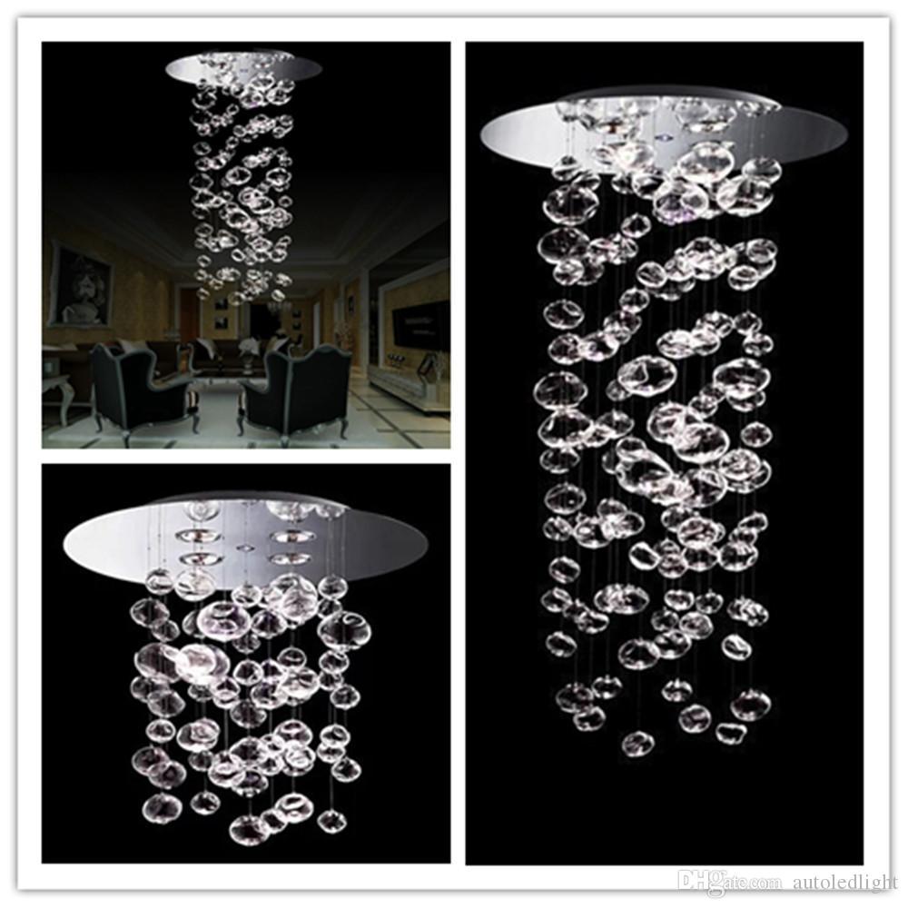 Lumière Taille Transparent Lustre Suspension Ball Pcs Gu10 Cristal Lampe Bulle 4 Moderne Plafonnier Personnalisée Murano Bubble Verre Pendentif Due b6vfYy7g