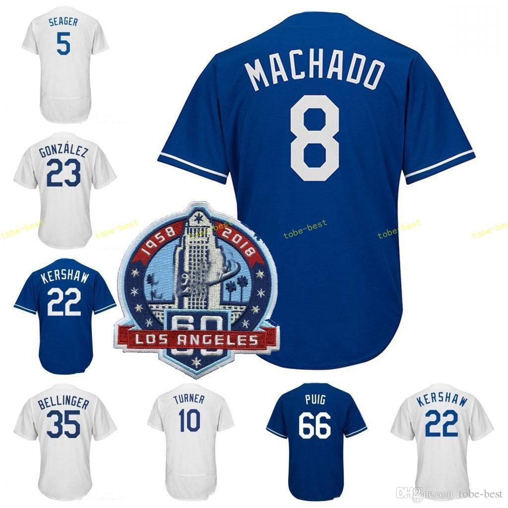 60th Patch 8 Manny Machado Clayton Kershaw Jersey 35 Cody Bellinger ... e5c0db82d1b