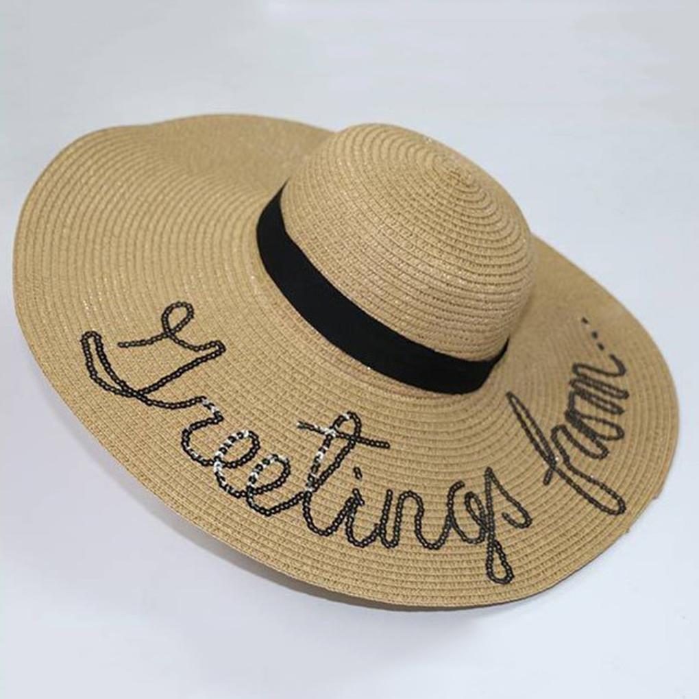 505896d650782 Compre Nuevo Estilo De Lentejuelas Letras Mujeres Niñas Verano De Ala Ancha  Sombrero Trenza De Paja Sombrero De Ala Ancha Sombrero De Playa Sombrero  Para El ...