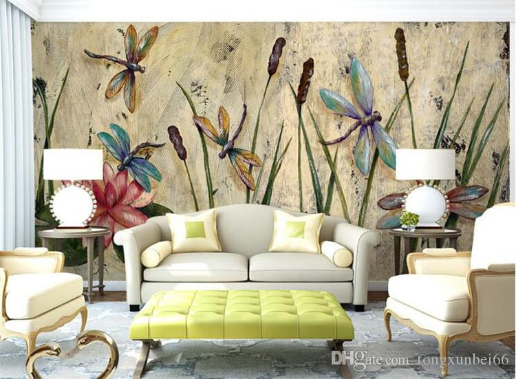 Personalized Dragonfly Lotus Mural Wallpapers Eurpoean Vintage Large Photo Murals Oil Painting Print Decal Wall Art Wall Paper