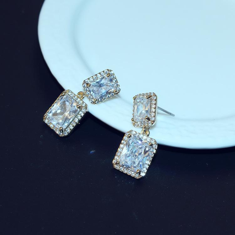 2f52403a7 2019 Agood High Quality Big CZ Diamond Earrings Stud For Women Statement  Rectangle Earring Wedding Party Fashion Jewelry From Alinejewelry, $9.05 |  DHgate.