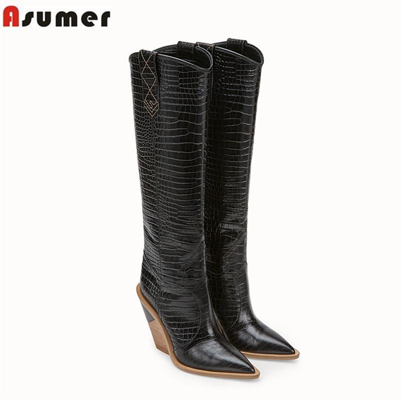 def8d71e Compre ASUMER Tamaño Grande 34 43 Botas Altas Hasta Las Rodillas De La Moda  De Las Mujeres Puntiagudo Cuñas Zapatos Tacones Altos Otoño Invierno Botas  2019 ...