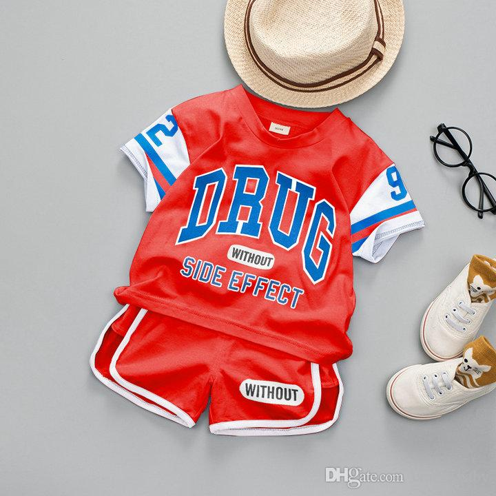 Jungen Sommer Kleidung 2 STÜCK Kleinkind Kinder Baby Boy Brief Gedruckt Lässige T-shirt Tops + Shorts Outfits