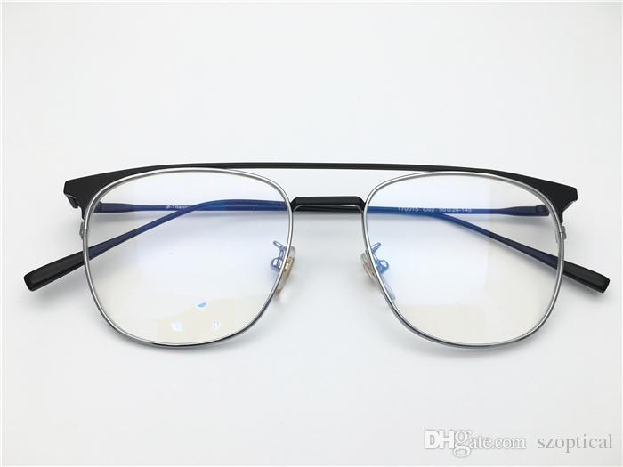 6da58e7545 Titanium Double Beam Vintage Retro Top Quality Optical Frame Spectacle  Frame for Men Women Optical Clear Prescription Lenses Oculos Online with ...