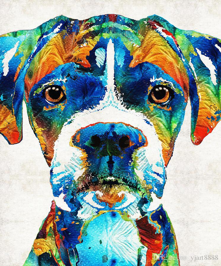art,oil painting ,Landscape painting ,Frame painting (colorful-boxer-dog)Unframed Modern Canvas Wall Art for Home and Office Decoration.