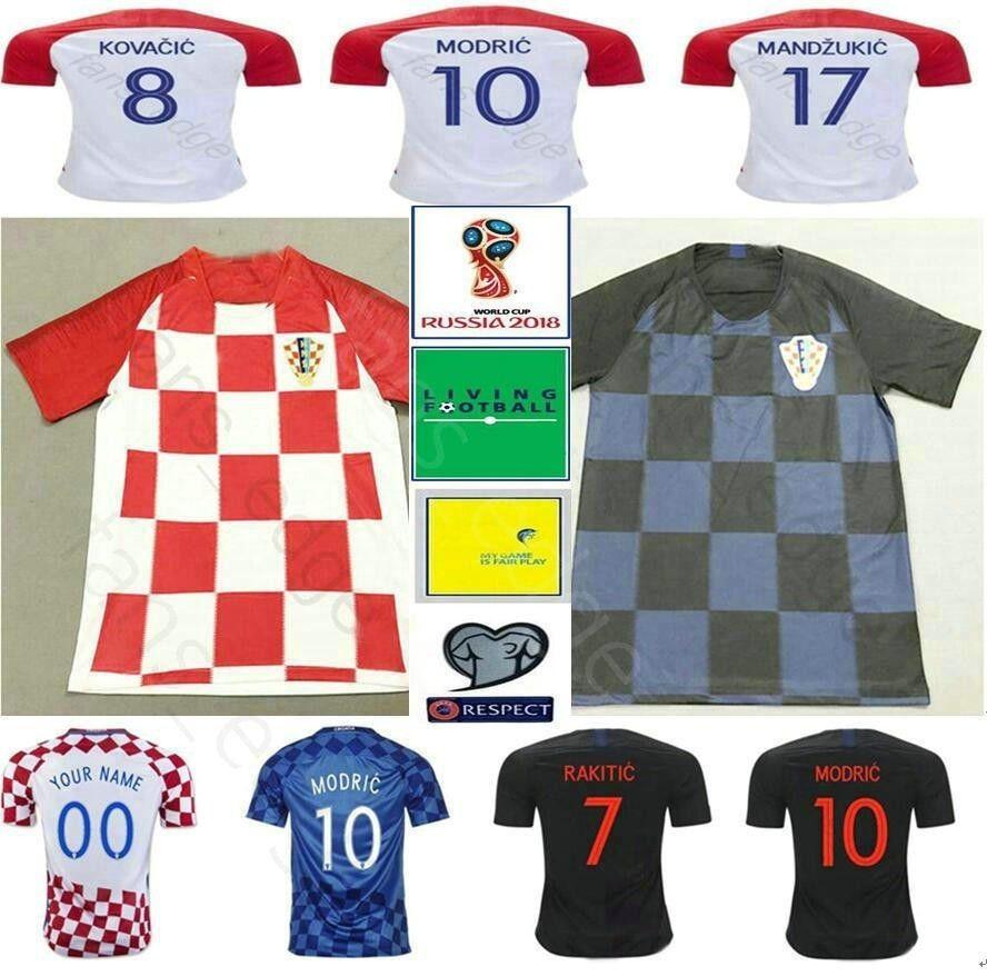 7e9e86644 2019 2018 World Cup Hrvatska Soccer Jerseys 10 MODRIC 4 PERISIC 7 RAKITIC 17  MANDZUKIC Customize Home Away Red Blue CrOaTiAes Football Shirt From  Fans_edge, ...