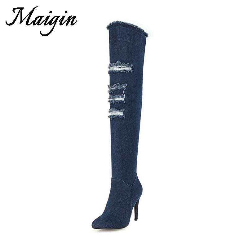 4b5d0b29bf9 Maigin Navy Blue Denim Over The Knee Boots 2018 Super High Heels Women Long  Boots Autumn Pointed Toe Female Footwear Shoes Cat Boots Shoe Sale From  Mkfobia