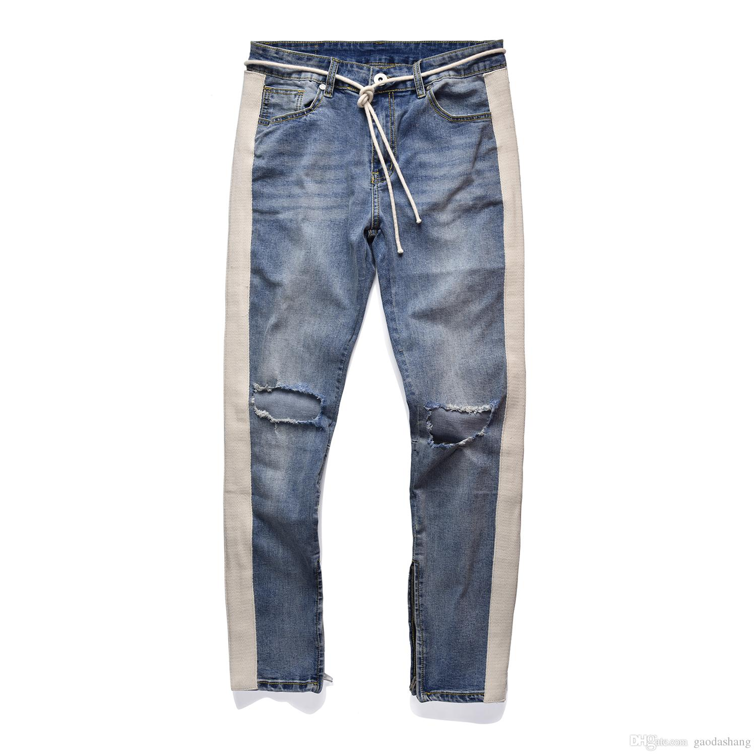 2018 NEW Fashion Hip Hop Ripped Destroyed men Hole jeans Biker White stripe stitching Bottom Side zipper Jeans Black blue 18 style 30-36