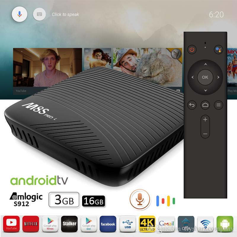 Voice control Best TV Box Octacore Amlogic S912 64Bit dual band 2 5G/5G  WiFi BT4 0 4K OTA update Android Smart TV Box Mecool M8S PRO 3GB 16G