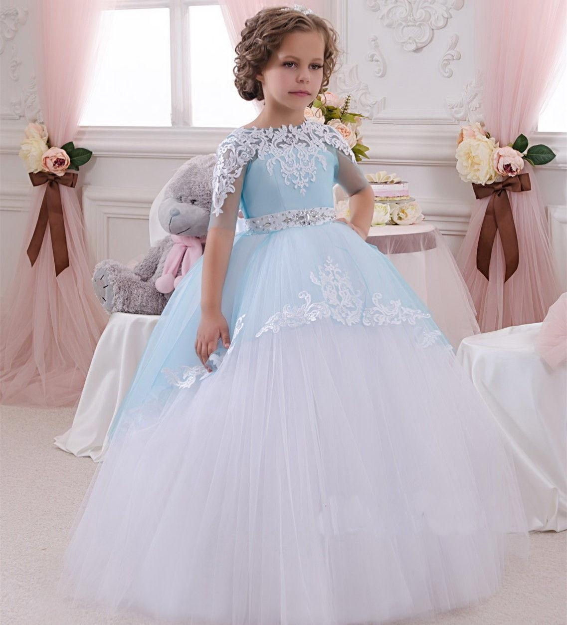 f125e87f496a8 Sky Blue Formal Tulle Cute Applique Short Sleeve Lace Flower Girl Dresses  Ball Gown Little Kids Party Birthday Dress Princess Dress For Girls  Princess ...