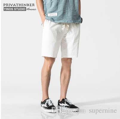 d3b298b7ef 2019 Privathinker Brand White Cotton Linen Shorts Men Summer Shorts Male  Bermuda Casual Board Short Pants Man Big Size Harajuku From Supernine, ...