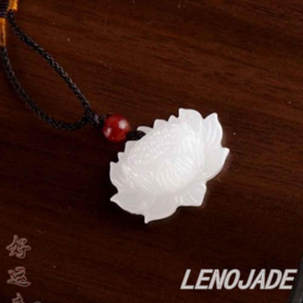 2018 Vivid Hand Carved Lotus Flower Natural Pure White Jade Jadeite