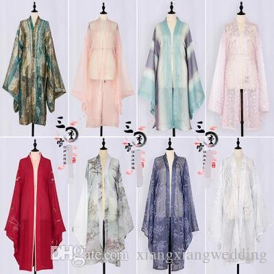 Retro Traditional Bridal Coat Embroidered Han Chinese Clothing Big sleeve unlined upper garment loose sleeves kimono tulle cloak