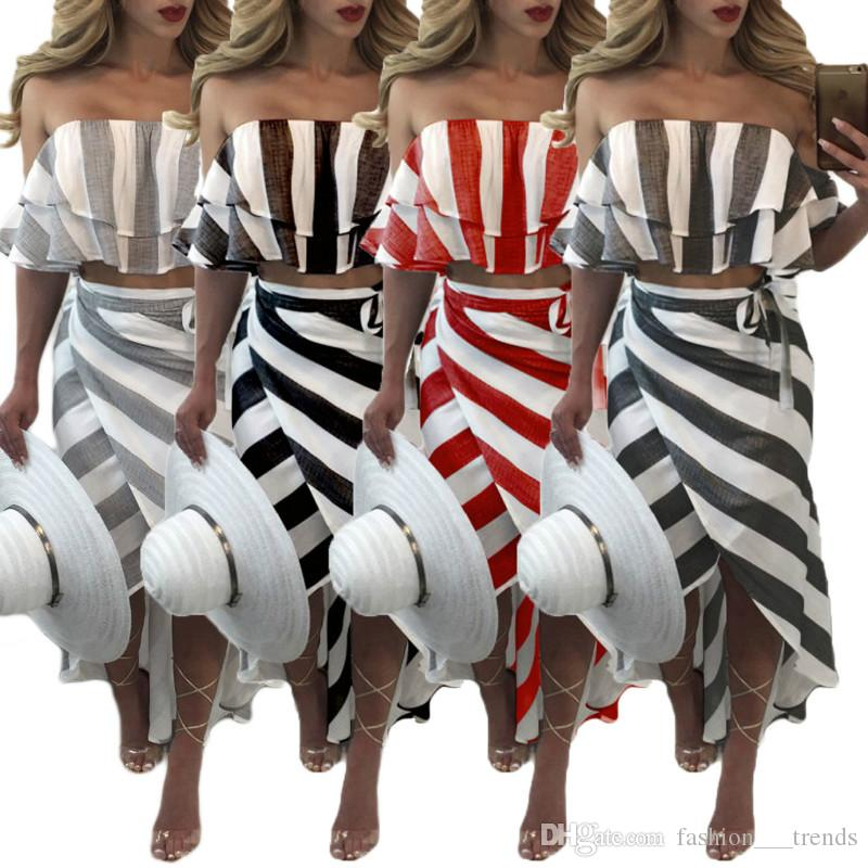 99377ea35a2f Casual Ruffle Striped Strapless Dress Off Shoulder Sleeveless Backless  Beach Wear Dress 2018 Sexy Lace Up Two Piece Set Bodycon Beach Dresse Dress  Cocktail ...