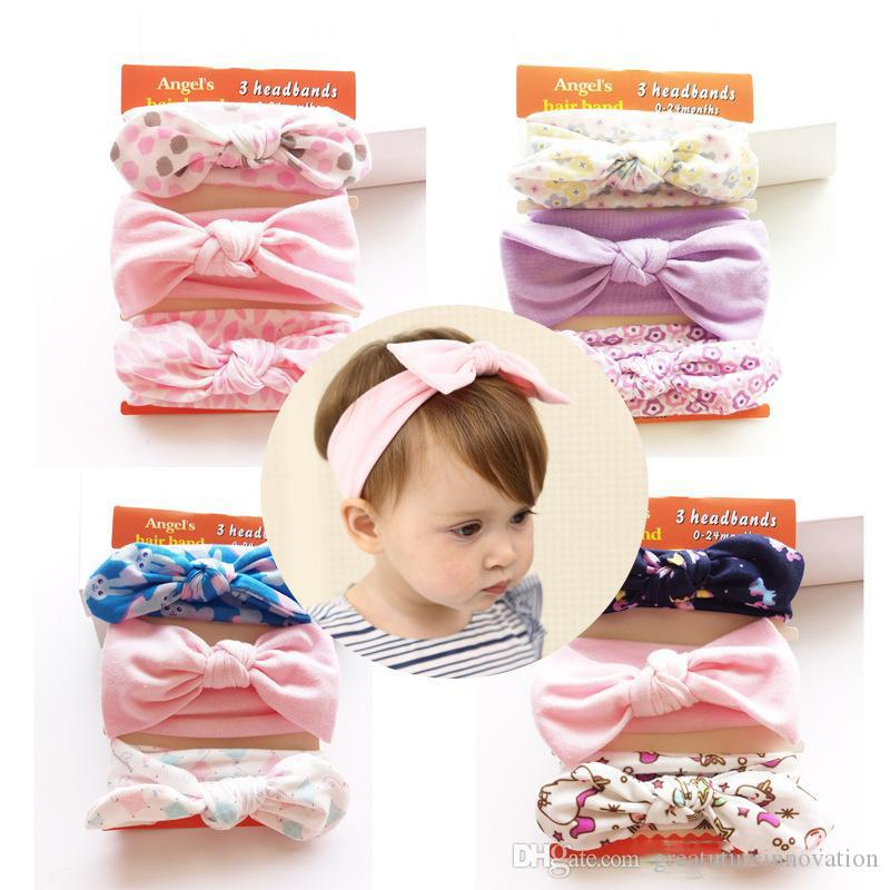3pcs/set Elastic Bowknot Flower Headband Hair Bands Cuff for Kids Christmas Gift Drop Ship