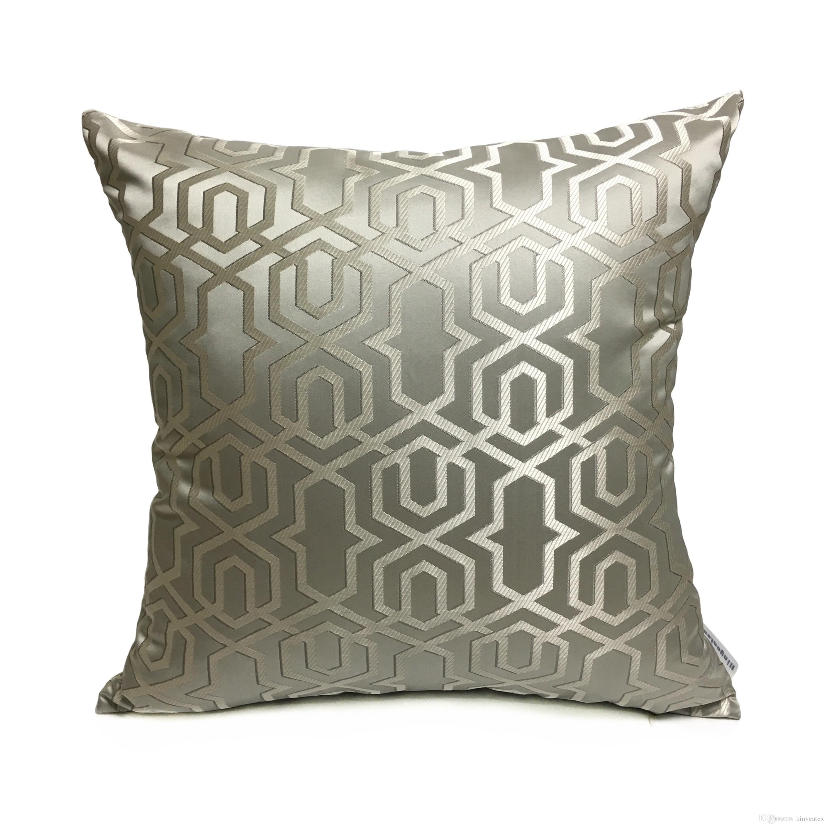 Contemporary Sofa Geometric Pillows: Contemporary Grey Geometric Throw Pillow Case Modern