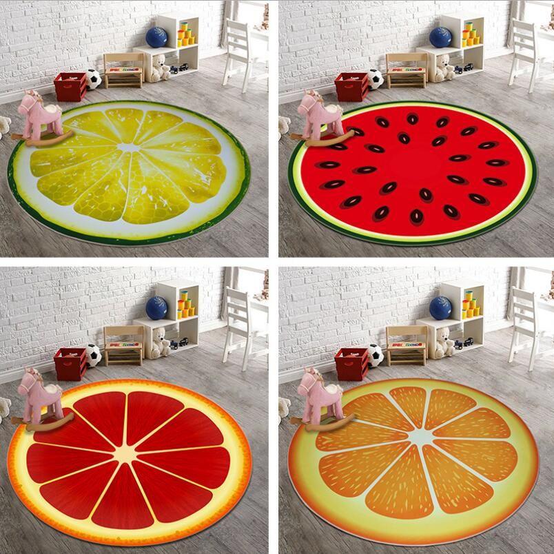 Anti Skid 3d Fruit Printing Drawing Room Round Carpet