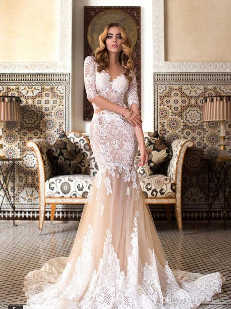 Vestidos De Noiva 2018 Sexy V-Neck Lace Mermaid Wedding Dresses Champagne Nude Lace Appliques Illusion Half Sleeves Bridal Gowns Plus Size