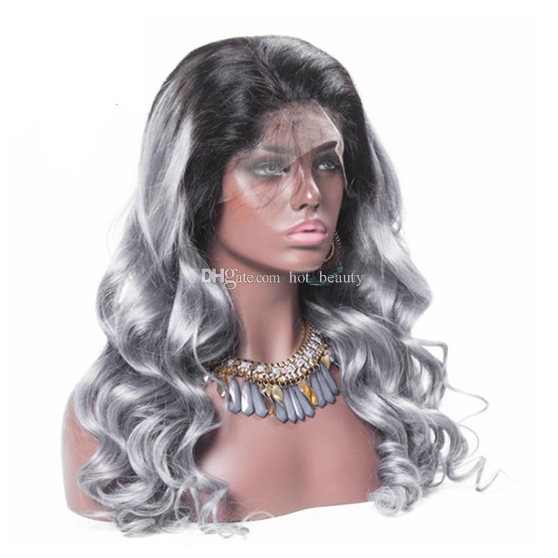 Grey Ombre Hair Full Lace Wig Two Tone 1b Grey Virgin Brazilian Human Hair Body Wave Grey Lace Wig For Sale
