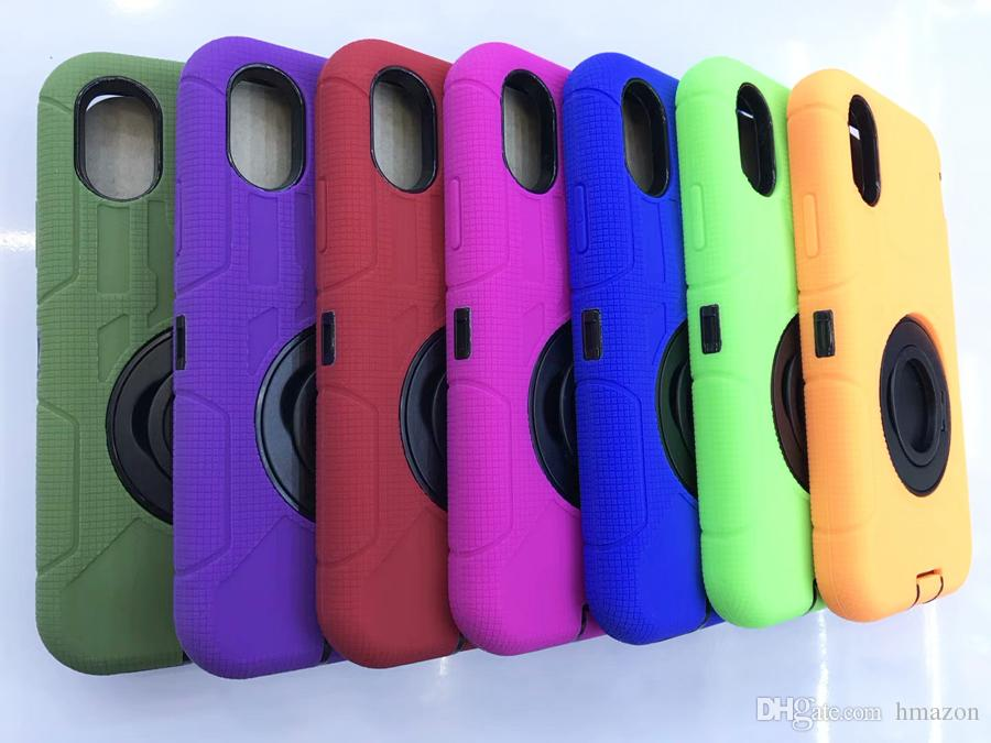 For iphone X 8 7 Plus Hybrid Case Rugged Impact Rubber Matte Shockproof Heavy Hard Case for iphone 5 6s 6plus 7 7plus with Stand