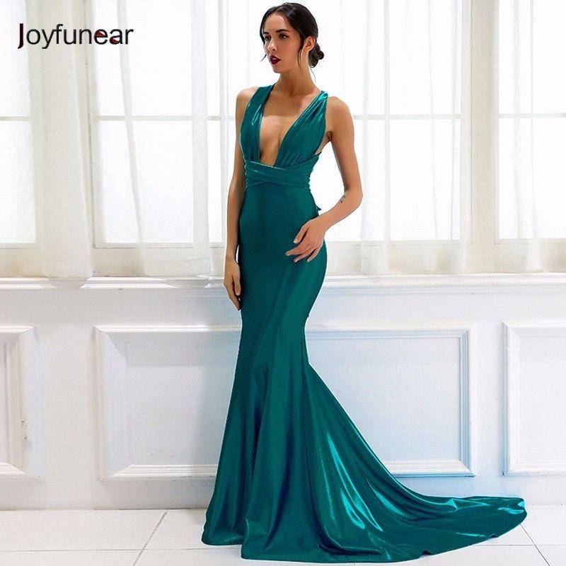 b3d78c2d4 Compre 20187 Joyfunear Elegante Verano Verde Vestido De Fiesta Strappy Sin  Respaldo Mujeres Abrigo Atractivo Vestidos Maxi Profundo Cuello En V Correa  ...