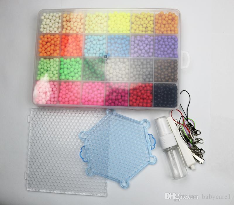 New toys 24 about Colour Magic hama Beads puzzle kits Water Sticky Perler Beads Pegboard Set Fuse Beads Jigsaw Puzzle