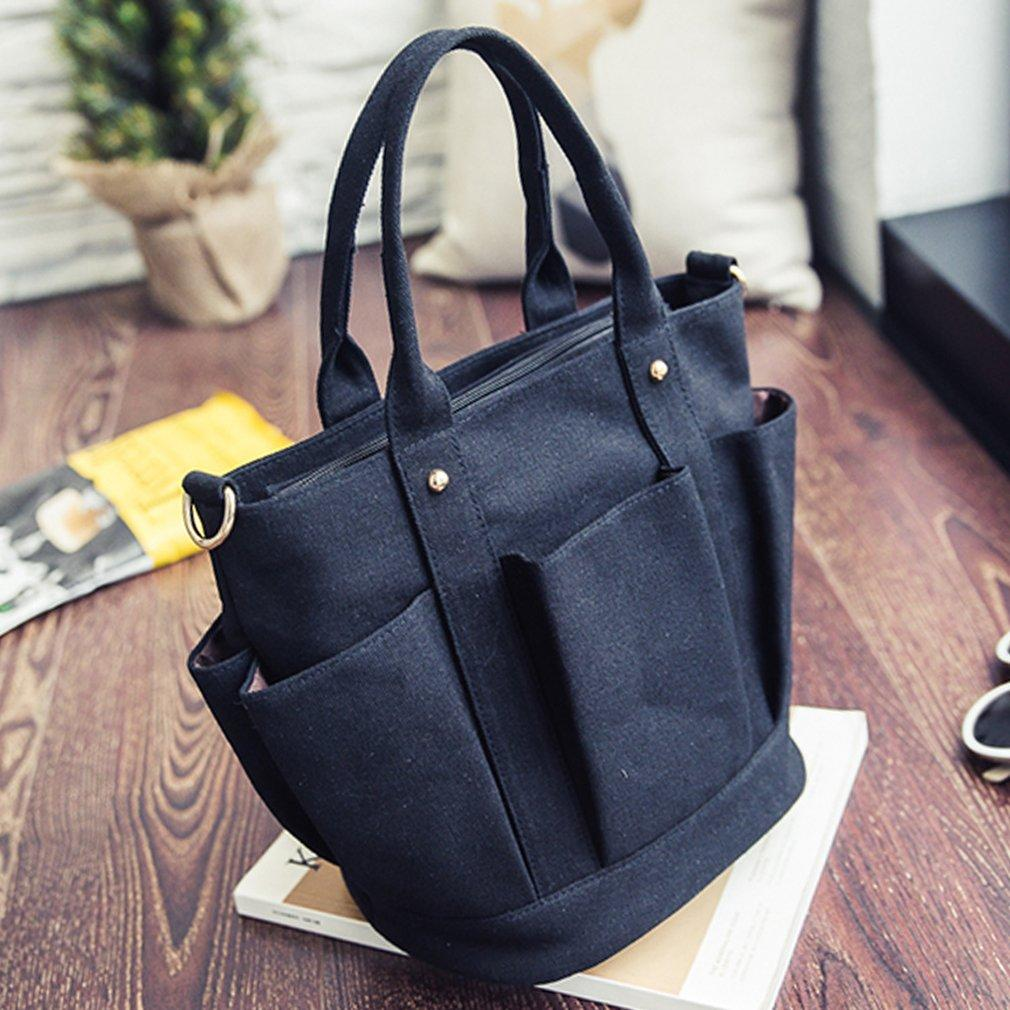 Fashionable Female Solid Color Handbags Women Casual Canvas Tote Bags  Vintage Women Handbags Ladies Crossbody Bags Purses On Sale Hobo Purses  From Rosetree 5f2f6b613e740