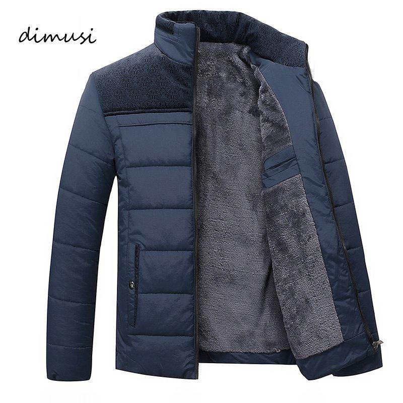 124e773f617 Compre DIMUSI Chaqueta De Invierno Para Hombre Fleece Gruesa Chaqueta  Cálida Parkas Hombres Acolchada Chaqueta Larga De Invierno Moda Slim Winter  Coat Men ...