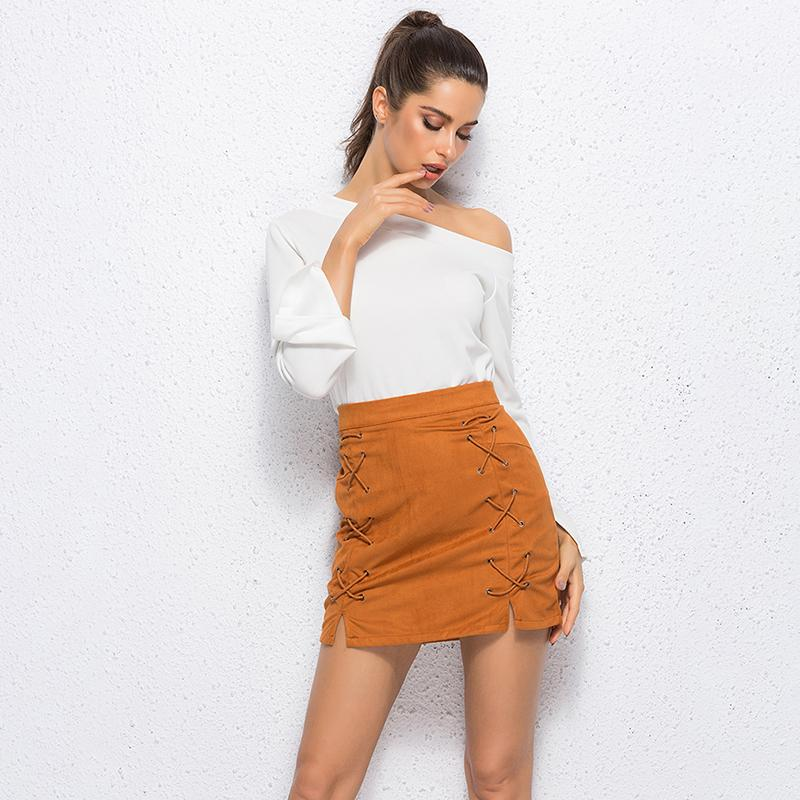 245f1874e3c7 2019 Leather Suede Pencil Skirt For Women Mini Skirt 2018 Spring High Waist Short  Bodycon Lace Up Skirts Sexy Split Skirts Ladies From Mobile05, ...