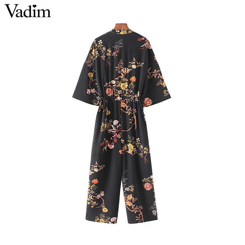 Vadim women vintage floral jumpsuits wide leg pants bow tie belt elastic waist pockets rompers female chic playsuits KZ1175