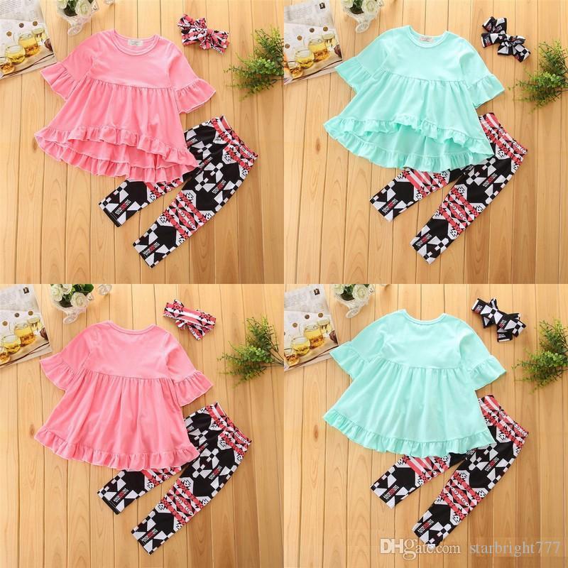796baf71741e6 Baby Girls Irregular Ruffle Shirts Solid Dress+Plaid Long Pants Leggings  +Bow Headband Sets Toddler Printed 3pcs Bubble Skirts Outfits