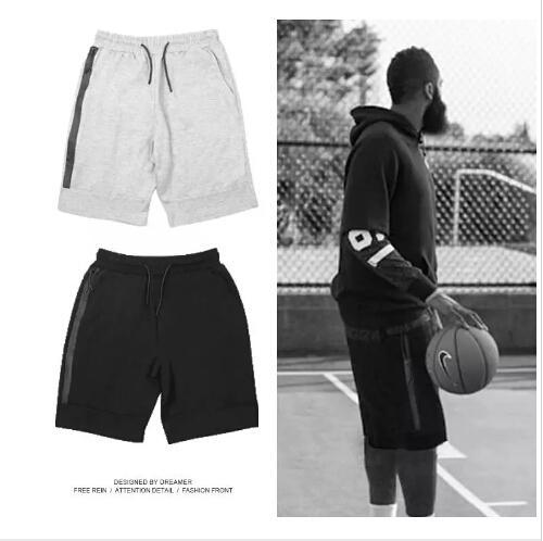 Shorts de sport pour hommes Zipper Pocket Pantalon de sport Pantalon décontracté Gris S-XL Shorts de sport décontracté pour homme Short