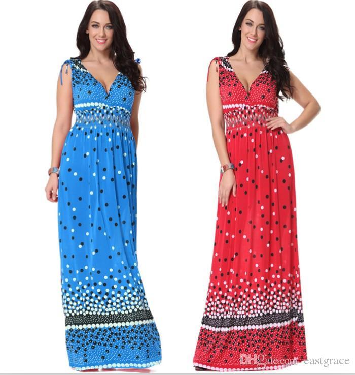 91bd1c64323 Euro Style Women V Neck Polka Dot Print Dress Lady Casual Sleeveless Plus  Size Beach Dress In Stock M 6XL Cheap Formal Dresses Dress Designs From  Eastgrace
