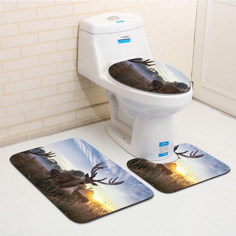 Honlaker Hd Elk Printing Bath Toilet Mat Sets Bathroom Decorations