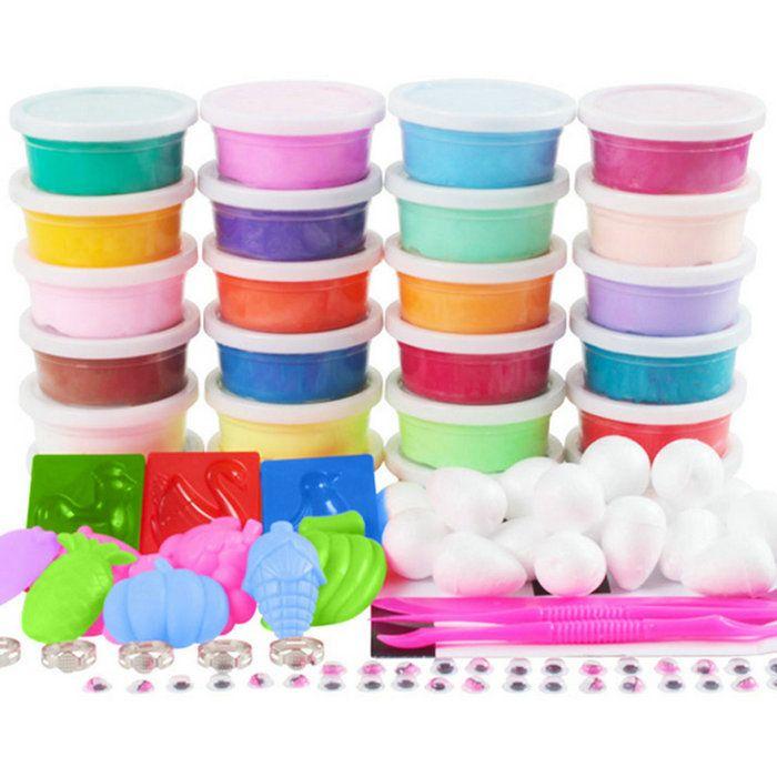 24 ألوان عدة ضوء الطين 20 جرام حزمة لون واحد مع مربع صغير وأدوات التجفيف البلاستيسين ذكي الاطفال الوحل اللعب البوليمر الطين 3c