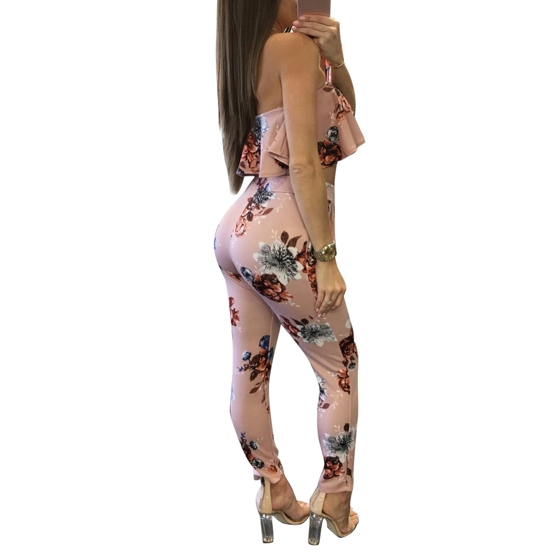 5f5a642f5cf3 2019 Off Shoulder Sexy Floral Print Jumpsuits Two Piece Backless Club Rompers  Womens Jumpsuit Strapless Full Bodysuit Summer Overalls From Forseason