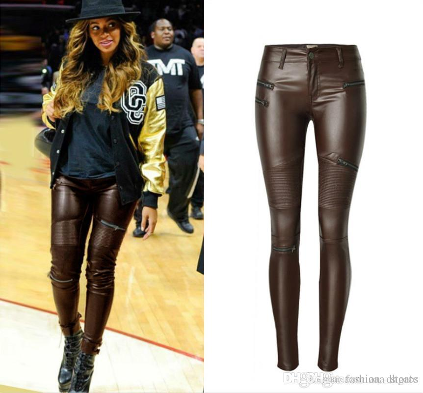 15ecac4c8dce78 Ladies High Waist Stretch Pant Skinny Brown PU Leather Trousers Zipper  Women's Pleated Patchwork Pencil Pants Locomotive Trousers