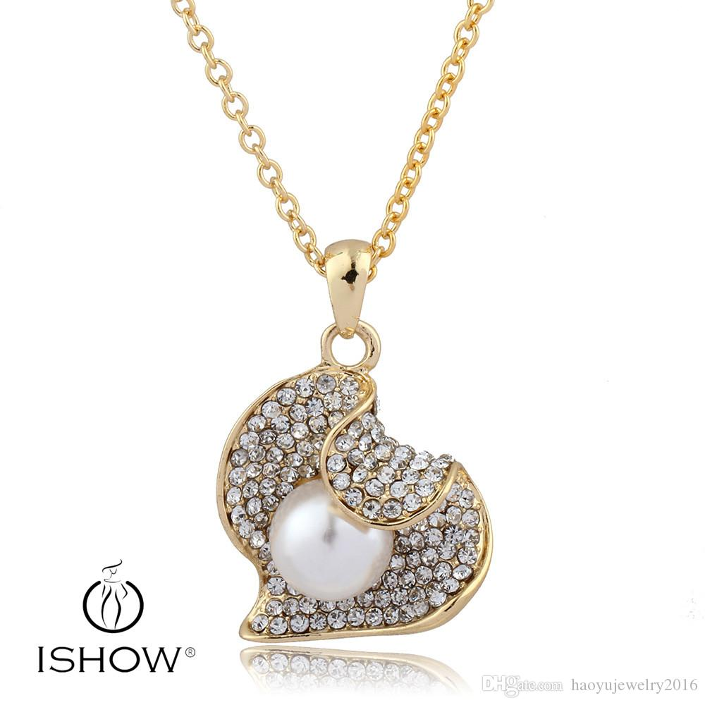 Crystal Heart Pendant 18k Gold Plated Necklace For Flower Girls